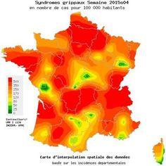 L'épidémie de grippe a débuté en France. Carte d'incidence sur la semaine du 19 au 25 janvier. Crédits: Réseau Sentinelles