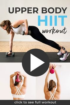 Shoulders, arms, back and core -- every single muscle in your upper body will be SHAKING at the end of this workout! This 30-Minute UPPER BODY HIIT Workout combines dumbbell strength training exercises with intense periods of HIIT cardio. You're sure to work up a sweat! #hiit #hiitarms #upperbodyhiit #arms #armworkout #upperbodyworkout #30minuteworkout #workoutvideo