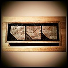 #Castle BTS 2: this was a framed memento some of the guys from the #CastleConstructionCrew made for me after they broke Beckett's apartment set down. These three panels came from the board Beckett carved her initials in when leaving her apartment. 2014. KB. K.  The glass came from the apartment windows.  I love working with those guys. They're a stellar bunch & give amazing hugs.