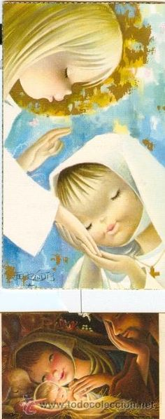 Detalle de la imagen de -ESTAMPA COMUNION FERRANDIZ, Detalles para bodas y comuniones Vintage Christmas Cards, Vintage Cards, Vintage Postcards, Mother Mary Images, Curious Cat, Eucharist, Sacred Art, Roman Catholic, Mother And Child
