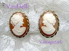 Vintage Earrings Cameo Van Dell screw back by Vintage55 on Etsy, $28.00