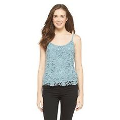 Lace Overlay Tank Top Blue Stencil L - Mossimo Supply Co. Get substantial discounts up to 50% Off at Target with Coupons and Promo Codes.