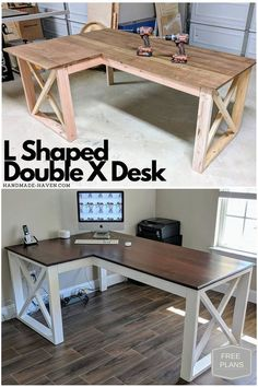 L Shaped Desk how to with free plans! L Shaped Desk how to with free plans! L Shaped Desk how to with free plans! Diy Furniture Projects, Woodworking Furniture, Diy Wood Projects, Diy Woodworking, Home Projects, Popular Woodworking, Woodworking Classes, Carpentry Projects, Furniture Stores