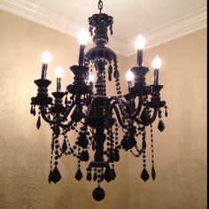gorgeous chandelier. would be so pretty in a black and white room!