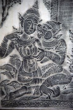 Hanuman finds Sita. Charcoal rubbing from a carved stone relief at the Cambodian temple known as Angkor Wat.