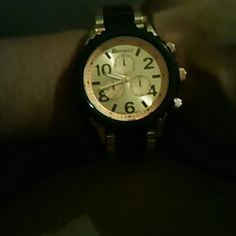 Oversized watch Cute black and gold metal link watch Geneva  Accessories Watches