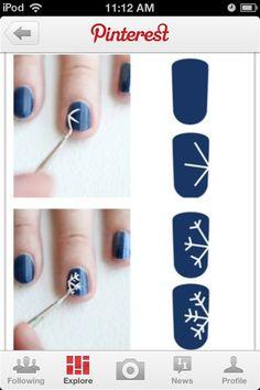 #Christmas #snowflake #nails #blue #design