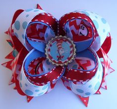 HAPPY BIRTHDAY DR SEUSS THING 1 THING 2 BOUTIQUE HAIR BOW RIBBON CLIP HANDMADE  #Handmade