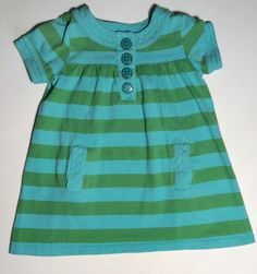 Baby Gap Green Blue Stripe Child Summer Dress Toddler Girls 2 2T
