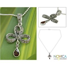 NOVICA Garnet and Marcasite Pendant Necklace (85 AUD) ❤ liked on Polyvore featuring jewelry, necklaces, garnet, pendant, tear drop necklace, ribbon tie necklace, pendant necklace, bow pendant necklace and tie necklace