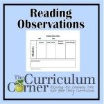 Reading Observations Form - organizes class progress for a given area of focus
