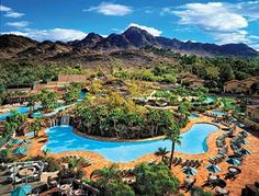 Pointe Hilton Squaw Peak Resort is a destination by itself – complete with large, lagoon type swimming pools, spa tubs, golf course, children's adventure program – Coyote Camp, onsite shopping options, and spa and salon services. Rooms starting as low as $77!