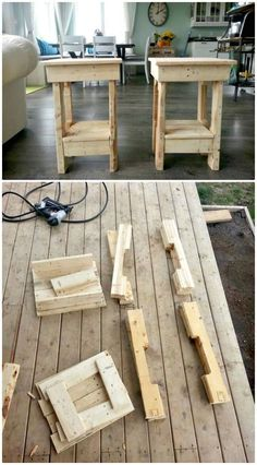 Wood Pallet Ideas How to Build Your Own End Tables In Just 2 Hours Using Pallets - 6 Pallet Side Table Ideas / End Table (Full Instructions) - DIY Diy Pallet Sofa, Wooden Pallet Projects, Diy Pallet Furniture, Pallet Ideas, Garden Furniture, Pallet Designs, Building Furniture, Furniture Movers, Diy Projects