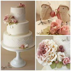Vintage Rose Wedding Cake. Love the open ruffled rose.