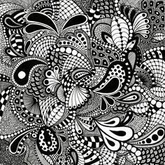 "zentangle | zentangle drawn on 10"" x 10"" bristol board - 3 or 3"