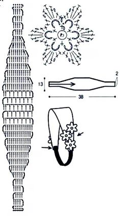 crochet headband chart with flower!.