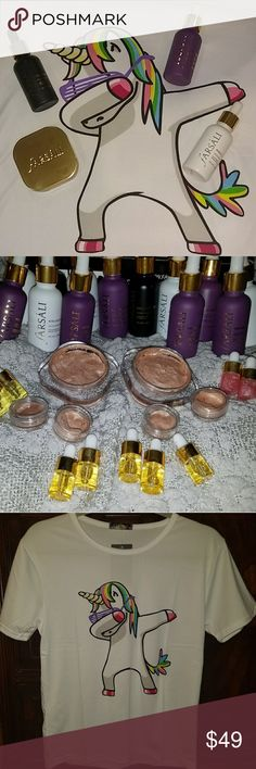 🦄🌈 Farsali Dabbing Unicorn Tee Bundle Serum NWT You will receive a super soft Unicorn Dab t shirt I have sizes medium and large and 4 samples of Farsali including Unicorn Essence Rose Gold Serum Volcanic Elixer and Jelly Beam.  These are filled under sanitary conditions and guaranteed authentic and fresh. Most sellers on poshmark sell fake Farsali please beware. Even if you don't buy from me be very careful most are not authentic. I ship fast! Makeup