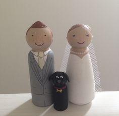 Bride, Groom and pet dog peg dolls