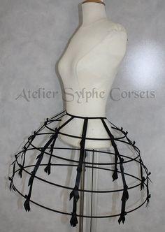 Black+color+Crinoline+hoop+skirt+panier+4+by+AtelierSylphecorsets,+$73.00
