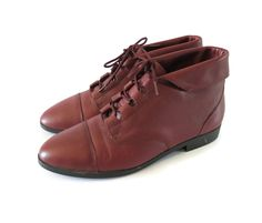Oxblood Boots Lace Up Ankle Booties Leather Burgundy Maroon Size 10 Cuffed Fold Down 80s 90s Flat Pixie Hipster Indie by GoodLuxeVintage on Etsy