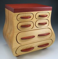 Large Maple And Bloodwood Jewelry Box With Secrets