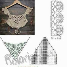 Cute crochet top patterns are simple and easy to knit - ropa crochet - Top Tejidos A Crochet, Crochet Bra, Crochet Motifs, Crochet Blouse, Crochet Chart, Cotton Crochet, Crochet Clothes, Crochet Stitches, Crochet Patterns