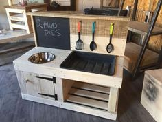 Buy mud play kitchen With Sandpit And Blackboard made from reclaimed timber and . Buy mud play kitchen With Sandpit And Blackboard made from reclaimed timber and then protected for outdoor use its a great mud kitchen for the little one. Outdoor Play Kitchen, Diy Mud Kitchen, Mud Kitchen For Kids, Wooden Play Kitchen, Kids Outdoor Play, Backyard Play, Backyard For Kids, Diy For Kids, Sand Pit