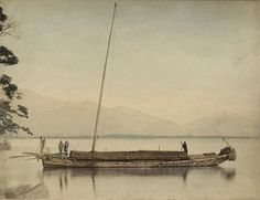 Fishermen on a boat. [Photo by Felice Beato, Kusakabe Kimbei or Raimund baron von Stillfried. Japan, around 1870-1890.]