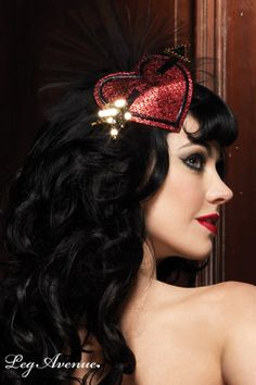 Burlesque Hair | Cupid Heart Lurex Hair Clip with Tulle Fan Detail and Sequin Accents