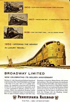 """Pennsylvania Railroad, The Broadway Limited 50th Anniversary.  The Broadway was the 20th Century Limited's great competitor in the """"war"""" between the Pennsy and the New York Central."""