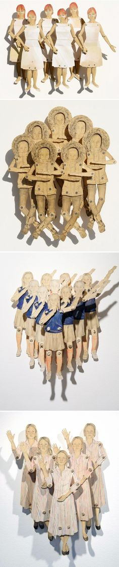 "Claire Oswalt ~ wooden, moveable drawings (""wooden paper dolls"")"