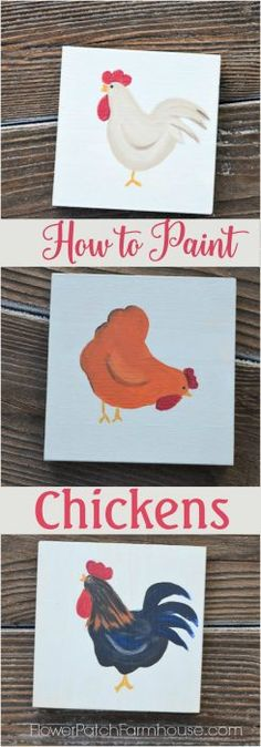 How+to+Paint+Fun+Chickens,+an+easy+to+paint+tutorial+in+acrylics.+Great+for+DIY+decor,+crafts,+kids+art+projects.