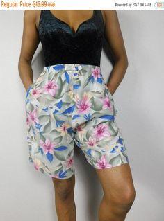 645cbffd SHOP SALE Vintage 1980s Sage Green Blue Hibiscus Floral Flower Print  Hawaiian High Elastic Waist Long Baggy Shorts Sz Medium