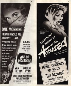 Two vintage 1949 movie ads Act of Violence and The by Vividiom, $8.00