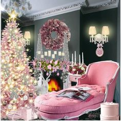 Pink Christmas Ornaments | Pink Christmas decor ideas. Image Credit polyvore.com