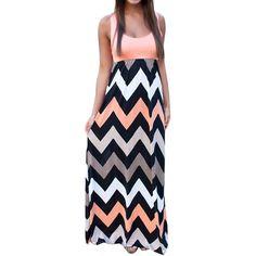 Orange Wave Color Blocking Elegant Womens Maxi Dress ($17) ❤ liked on Polyvore