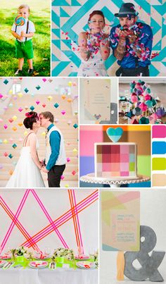 Bold wedding colors, neon wedding inspiration. Love the energy on this inspiration board/color palette!