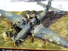 1/72 scale The surrender of German ace Hans-Ulrich Rudel & his Stuka. By Steve Hustad. #Luftwaffe #scale_model #diorama