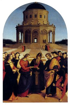 """RAPHAEL: The Marriage of the Virgin, from the Chapel of St. Joseph, San Francesco, Citta di Castello, Italy, 1504. Oi on wood, 5'7"""" x 3/10"""". Here the young Raphael demonstrates his understanding iof foreshortening and perspective."""
