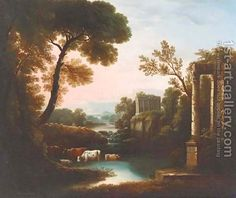 An Italianate landscape with classical ruins by Claude Lorrain (Gellee)