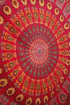 The Jaelyn Peacock Mandala Red Bohemian Wall Boho Large Tapestry