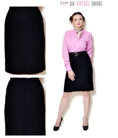 Pencil Skirt Vintage high waisted evening skirt women clothing office clothes black mini skirt 80s clothing vintage Minimalist Large by SixVintageChicks on Etsy