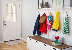 I knew we desperately needed a way to organize our entryway, so I turned to IKEA and created an awesome hack for mudroom benches!