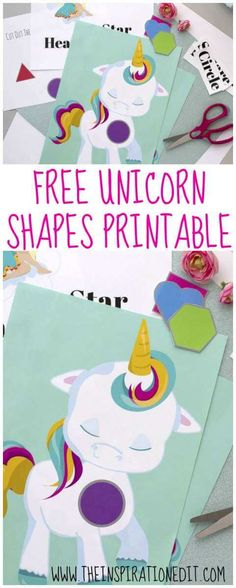 Unicorn Shapes Printable · The Inspiration Edit Unicorn Crafts, Unicorn Art, Teaching Shapes, Teaching Kids, Learning Activities, Activities For Kids, Childcare Activities, Preschool Learning, Activity Ideas