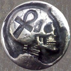 STEPHAN MILES HOBO NICKEL - ANK SKULL - 1934 BUFFALO PROFILE Hobo Nickel, Volkswagen Logo, Coins, Skull, Carving, Buffalo, Profile, User Profile, Rooms