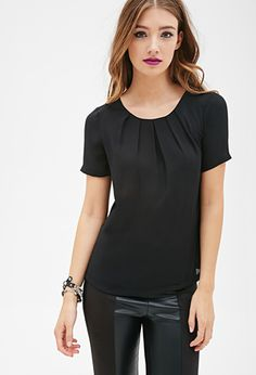 Pleated Crepe Blouse | FOREVER21 - 2000120757 (small)