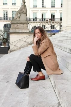 Shop this look for $109:  http://lookastic.com/women/looks/camel-coat-and-black-dress-pants-and-brown-oxford-shoes-and-black-tote-bag/3863  — Camel Coat  — Black Dress Pants  — Brown Leather Oxford Shoes  — Black Leather Tote Bag