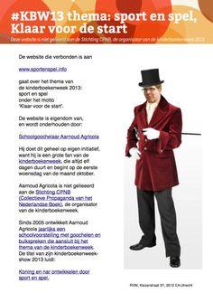 Colofon van de website www.sportenspel.info over het thema van de #kinderboekenweek 2013 #KBW13 over sport en spel klaar voor de start. Niet gelieerd aan de Stichting Collectieve Propaganda van het Nederlandse Boek (CPNB), maar initiatief van #goochelaar Aarnoud Agricola.