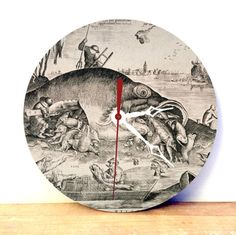 Find JDzigner at http://www.jdzigner.com !!!  Wood Wall Clock - Fish Art Wall Clock - Medievil Art Analog Clock - Vintage Wall Clock - Home Decor Wall Art - pinned by pin4etsy.com  with <3 from JDzigner www.jdzigner.com