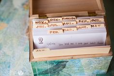 Memories Saved in Seconds: Keep a Memory Box ~ When something significant happens and you want to remember it, just jot it down. Then as the years go by, you can go back and pull different cards and see what you wrote down on that particular day... would also make a nice diy gift